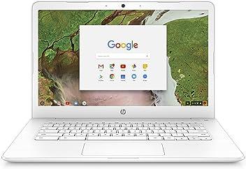 HP Chromebook 14-inch Laptop with 180-degree hinge, Intel Celeron N3350 Processor, 4 GB RAM, 32 GB eMMC storage, Chrome OS (14-ca050nr, White)