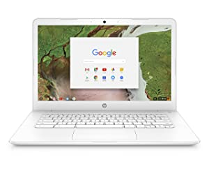 HP Chromebook 14-inch Laptop with 180-Degree Axis, Intel Celeron N3350 Processor, 4 GB RAM, 32 GB eMMC Storage, Chrome OS (14-ca050nr, White)