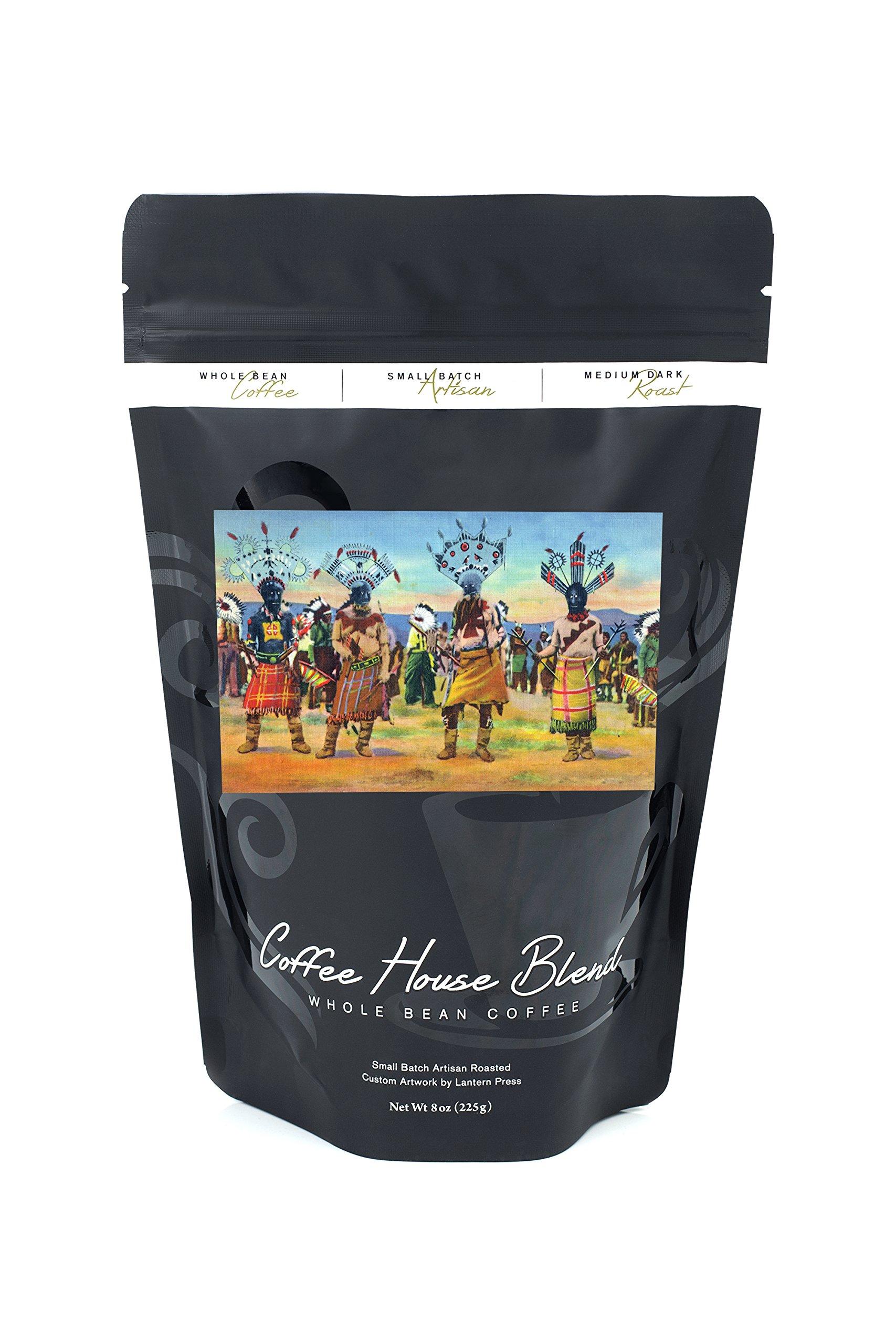 Apache Indians Dance the Devil Dance (8oz Whole Bean Small Batch Artisan Coffee - Bold & Strong Medium Dark Roast w/Artwork)