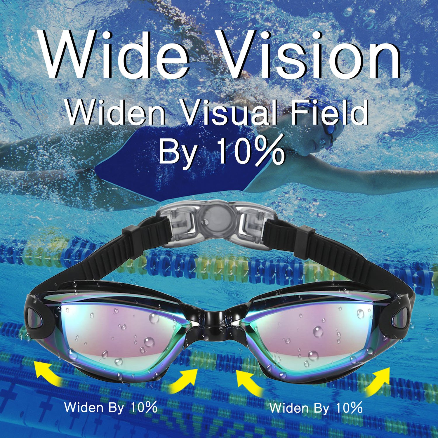 black MYADDLOT 3D Ergonomic Swimming Goggles Swim Goggles Professional Anti Fog No Leaking UV Protection Wide View For Women Men Adult Youth Kids Waterproof Smartphone Case