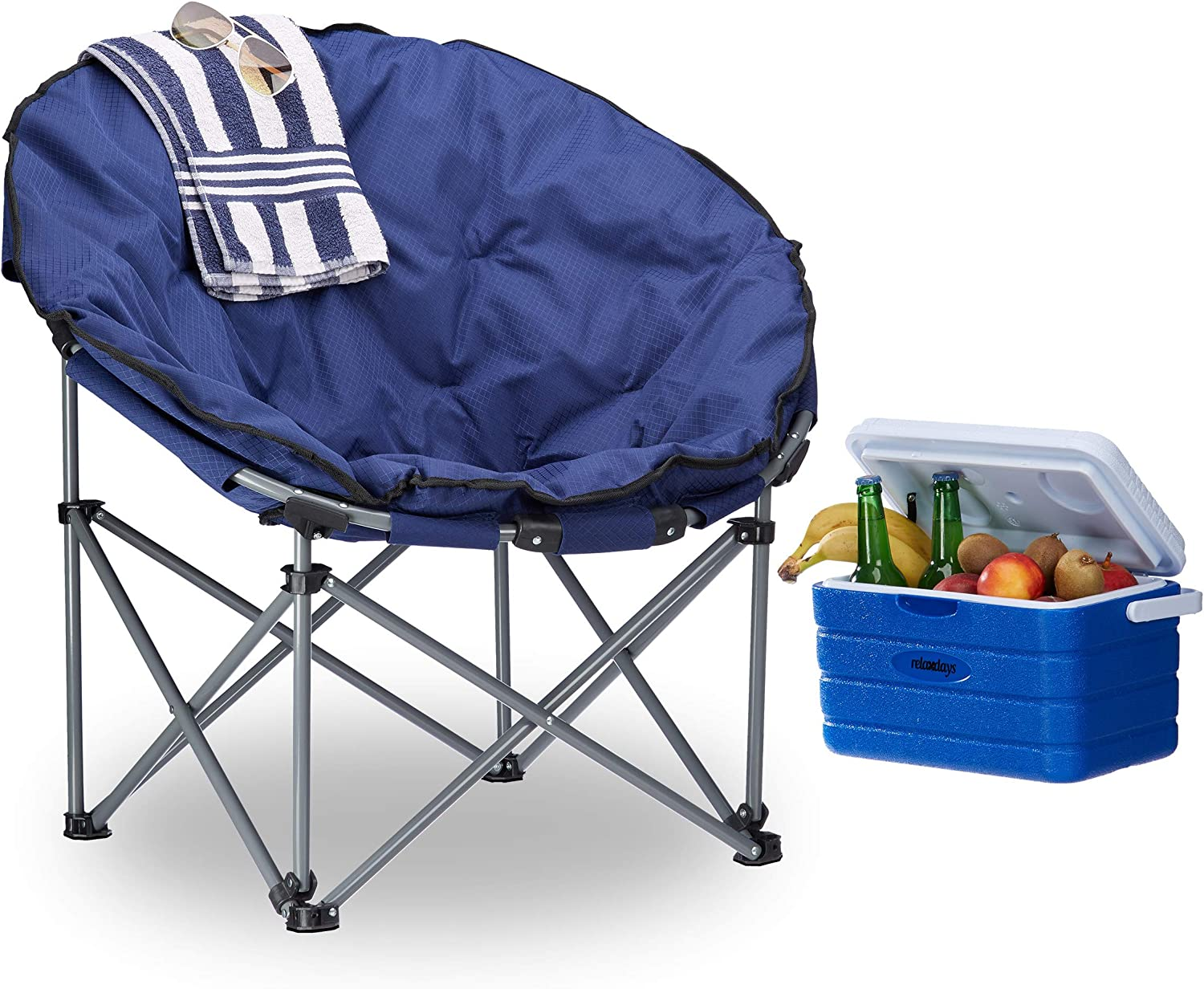 Relaxdays Chaise de camping Lune Moonchair 120 kg