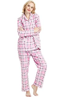 536cd844c3 GLOBAL Comfy Pajamas for Women 2-Piece Warm and Cozy Flannel Pj Set of  Loungewear