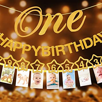 c80fa6af7db 1st Birthday Glitter Decorations - Monthly Milestone Photo banner for  Newborn to 12 months. Great