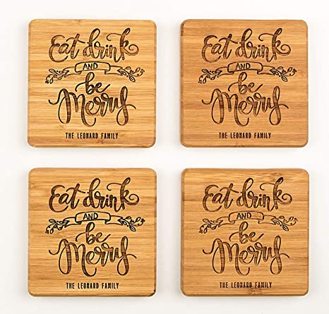 Personalized Wedding Gifts And Bridal Shower Gifts Monogram Wood Coasters For Drinks Set Of 6 Eat Drink And Be Merry Design