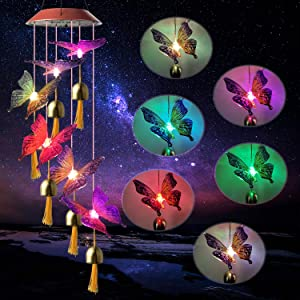 Ubrand ShangTianFeng Butterfly Wind Chimes Gift with Bells Red Top Butterfly Gifts Solar Bell Butterfly Lights Outdoor Solar Hanging Lights Gardening Gifts Gifts for mom Garden Decor Solar Butterfly