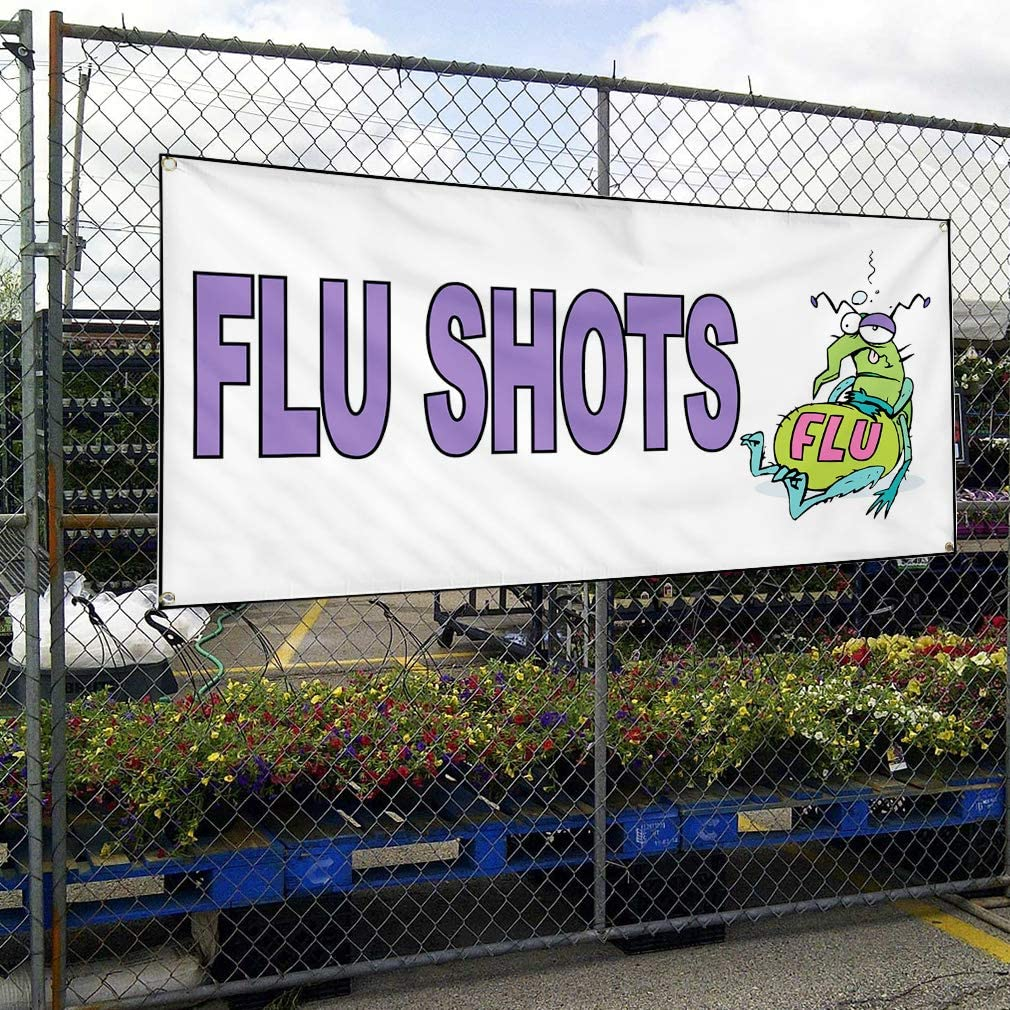 Vinyl Banner Sign Flu Shots White Purple Health Care Outdoor Marketing Advertising White 4 Grommets 28inx70in Multiple Sizes Available Set of 3