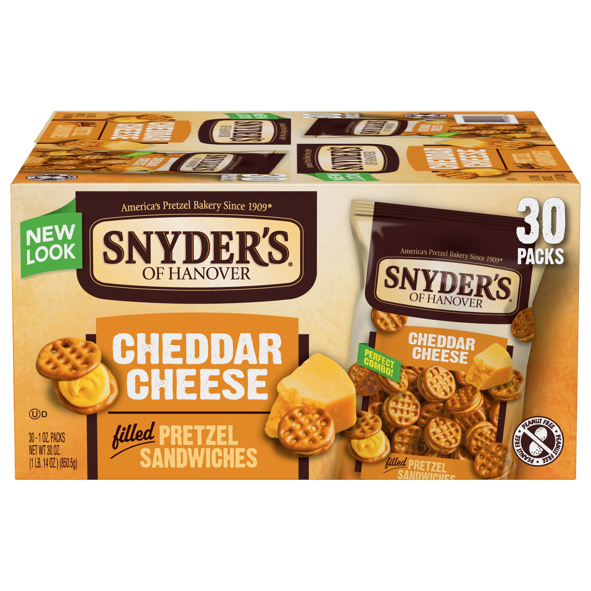 Snyder's of Hanover Cheddar Cheese Pretzel Sandwiches, 30 Count (Pack of 30)