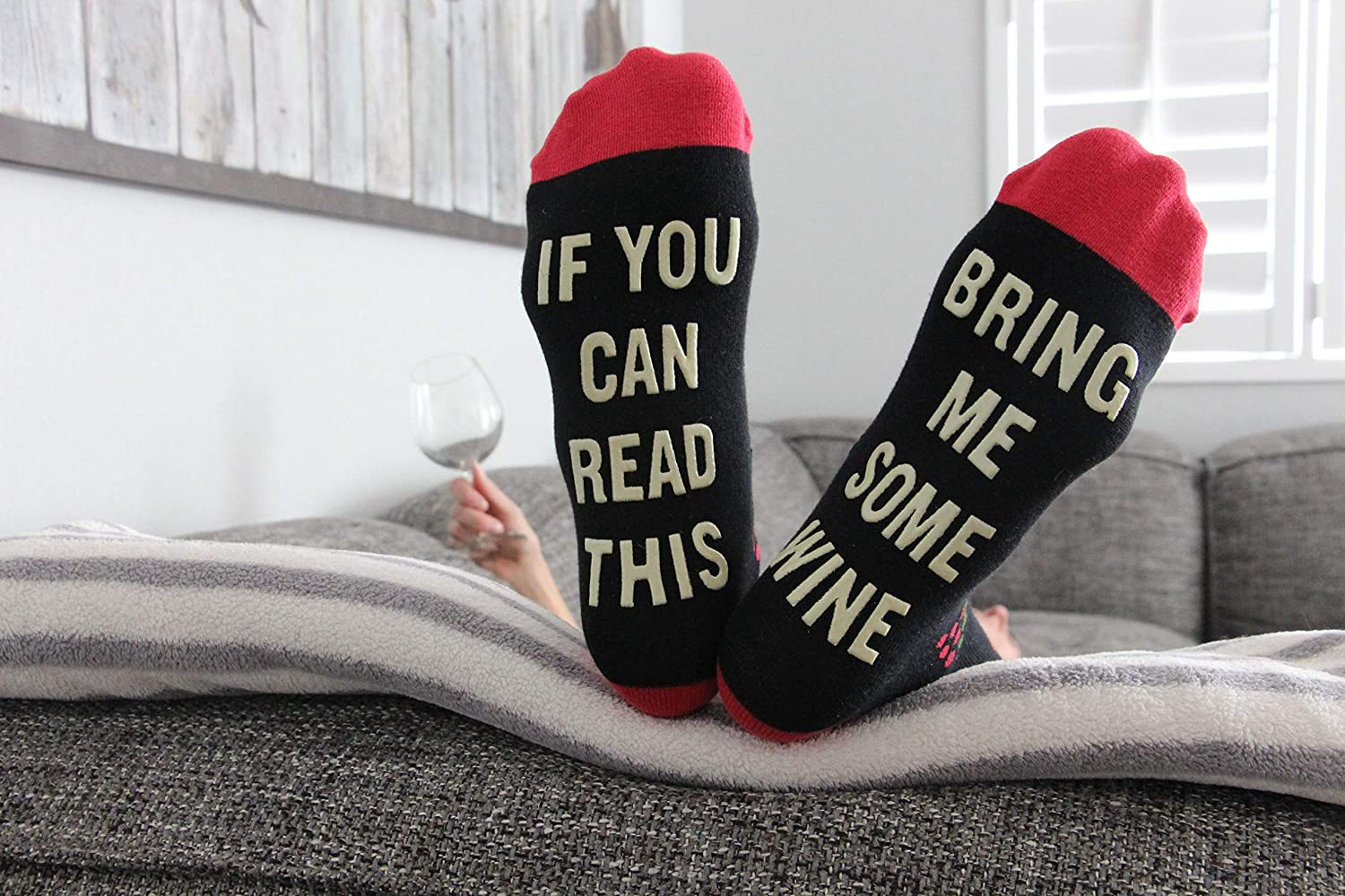 b0933ed71da9 Amazon.com: If You Can Read This Bring Me Wine - Funny Unisex Funky  Colorful and Comfy Knit Novelty Socks for Women and Men - By Lavley:  Clothing
