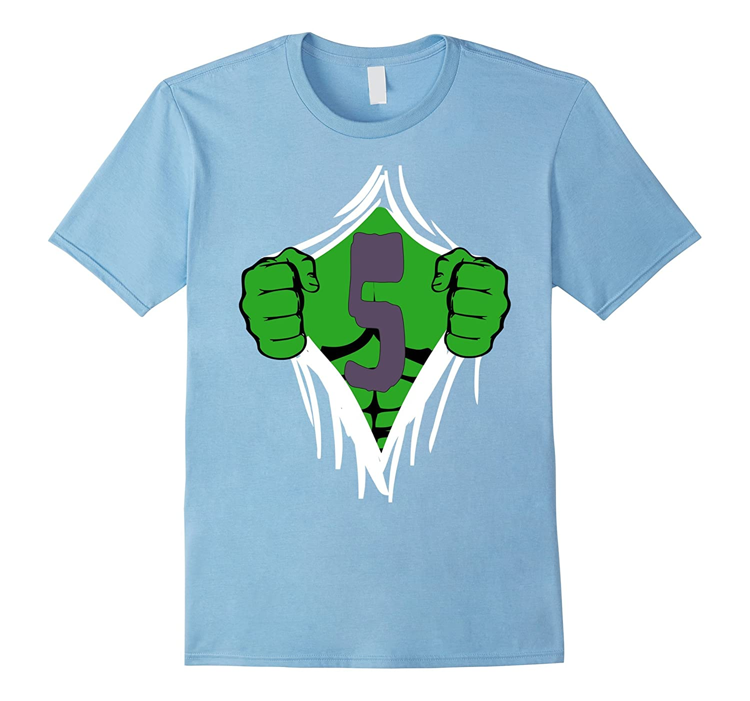 Green Man Chest Superhero Birthday Shirt For 5 Year Old Boys PL