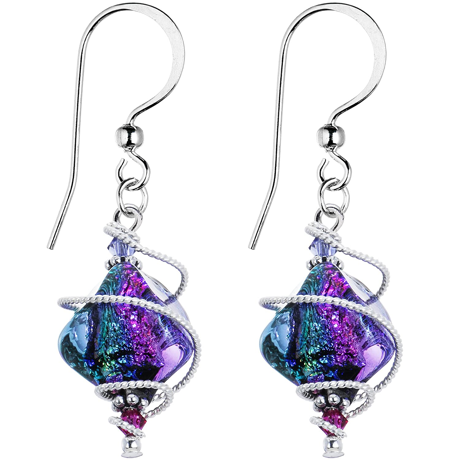 Body Candy Handcrafted 925 Silver Purple Dichroic Drop Dangle Earrings Created with Swarovski Crystals HC-1672