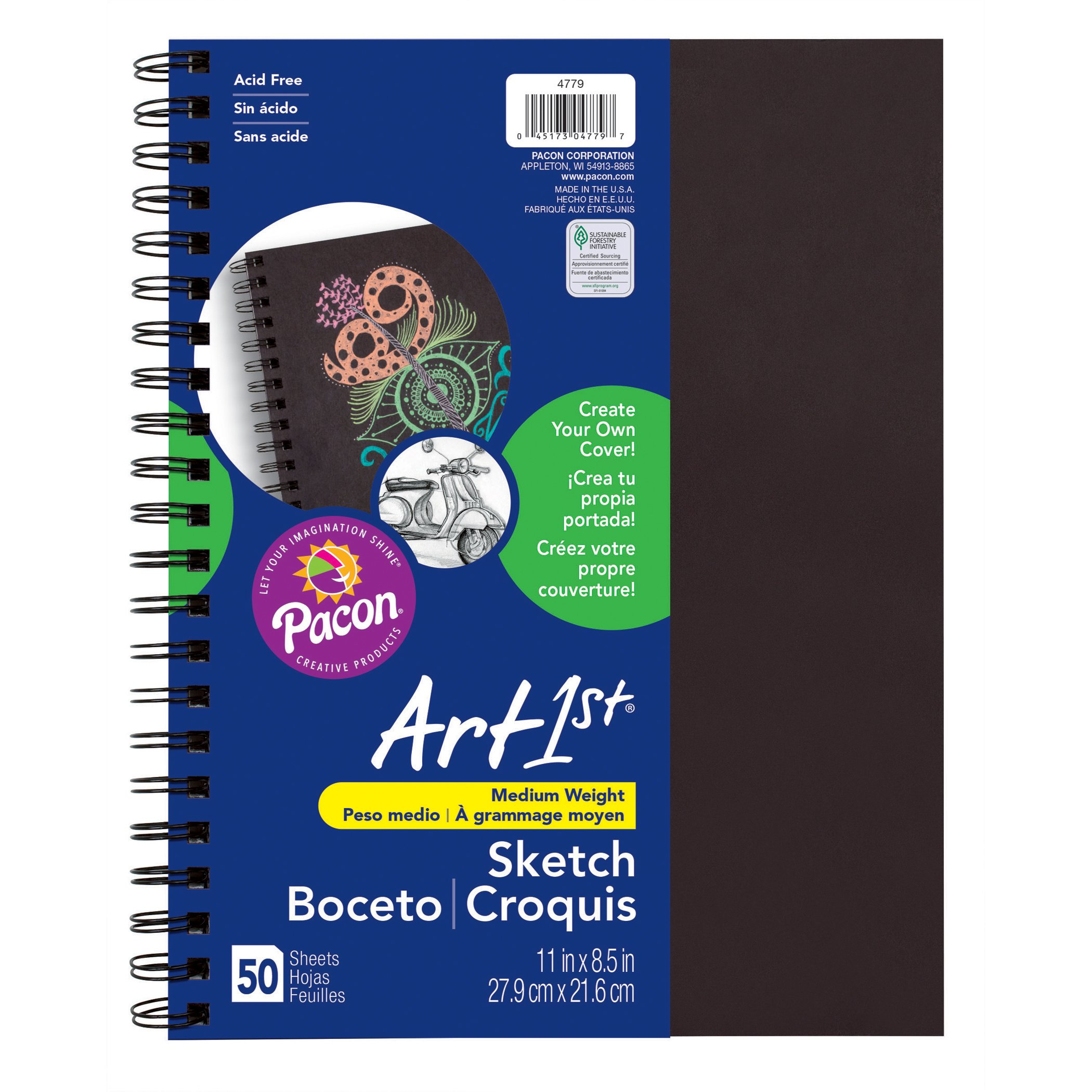 Pacon PAC4779 Art1st Create Your Own Cover Sketch Diary, 11'' x 8.5'', Black
