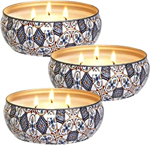 Howemon Citronella Candles Set 3, 14 oz Each Scented Candle Soy Wax, Outdoor and Indoor