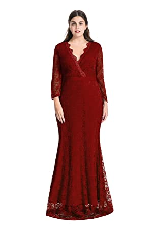 myfeel Women Plus Size Maxi length Sleeves Lace Dress Event Gowns ...