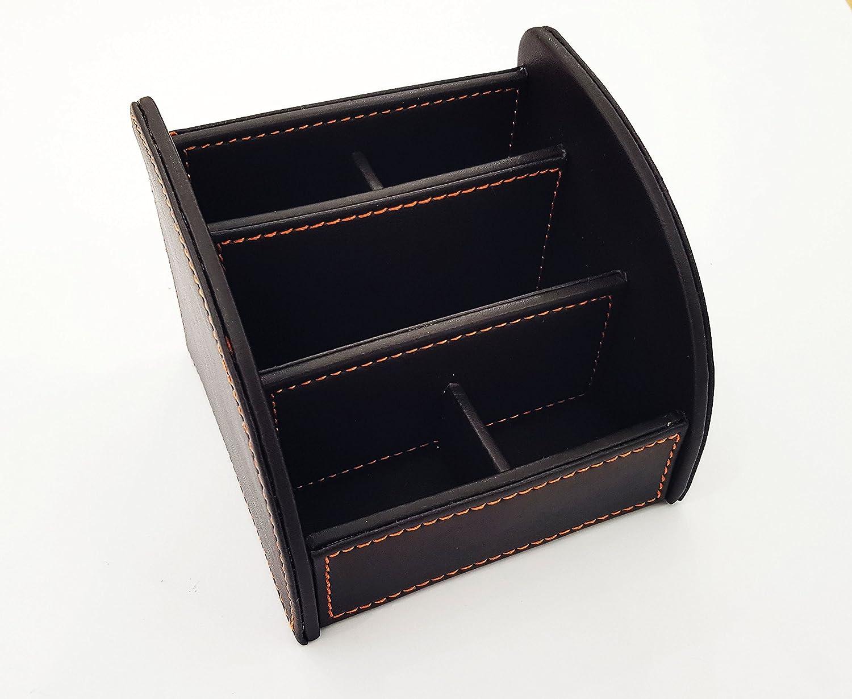 Scrivania Ufficio Oggetti : Portapenne porta oggetti eco pelle scrivania ufficio 5 comparti nero