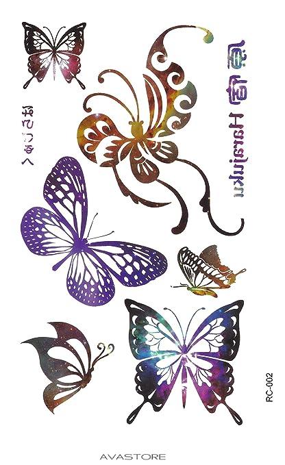 Tatuaje Temporal joyas mariposa multicolore- tatuaje Ephémère ...