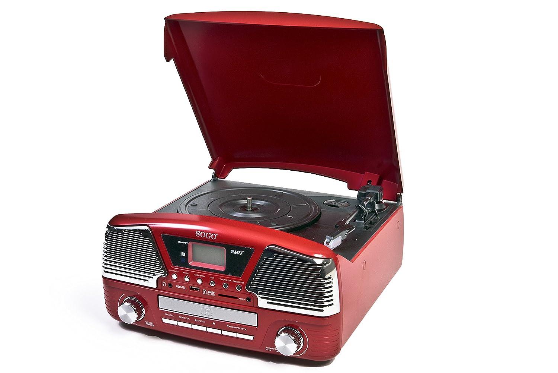 Sogo SS-8575 Tocadisco, color rojo: Amazon.es: Electrónica