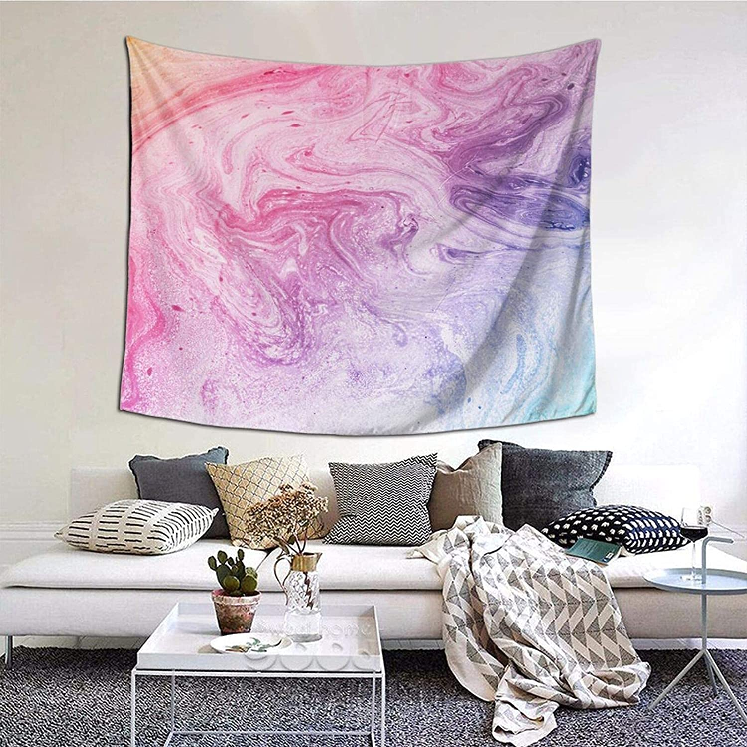 Colorful Marble Pastel Pink Blue Purple Tapestry Wall Hanging Print Tapestry,Bedroom Tapestry.Wall Hanging Dorm Decor For Living Room Bedroom,60 X 51 Inch