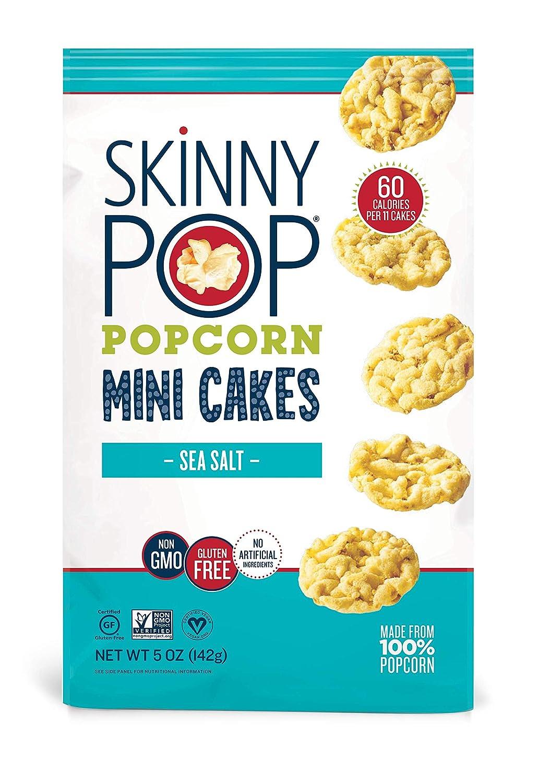 SkinnyPop Sea Salt Popcorn Cakes, Healthy Snacks, 5oz (Pack of 12)