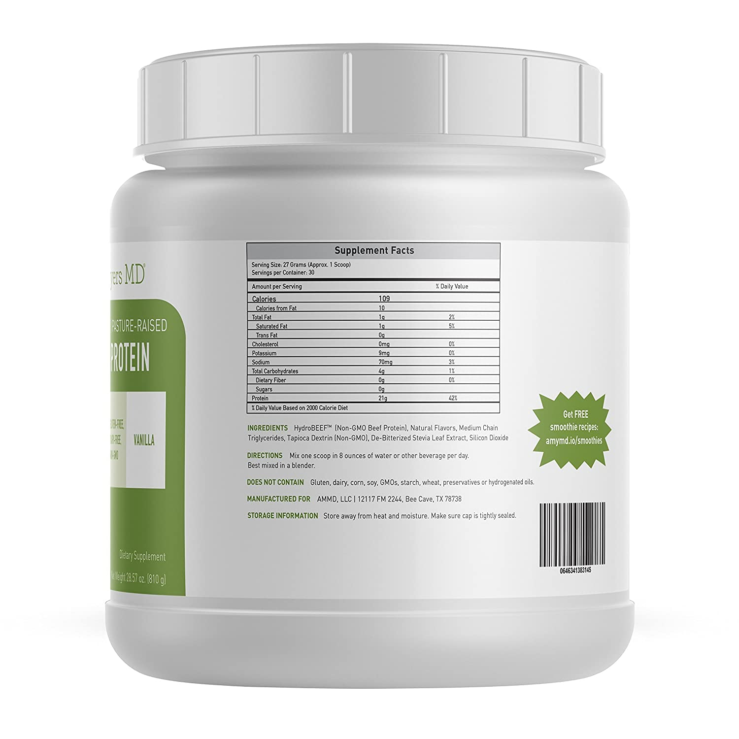 Pure Paleo Protein by Dr. Amy Myers Clean Grass Fed, Pasture Raised Hormone Free HyrdoBEEF Protein, Non-GMO, Gluten Dairy Free 21g Protein Per Serving Creamy Vanilla Shake for Paleo and Keto