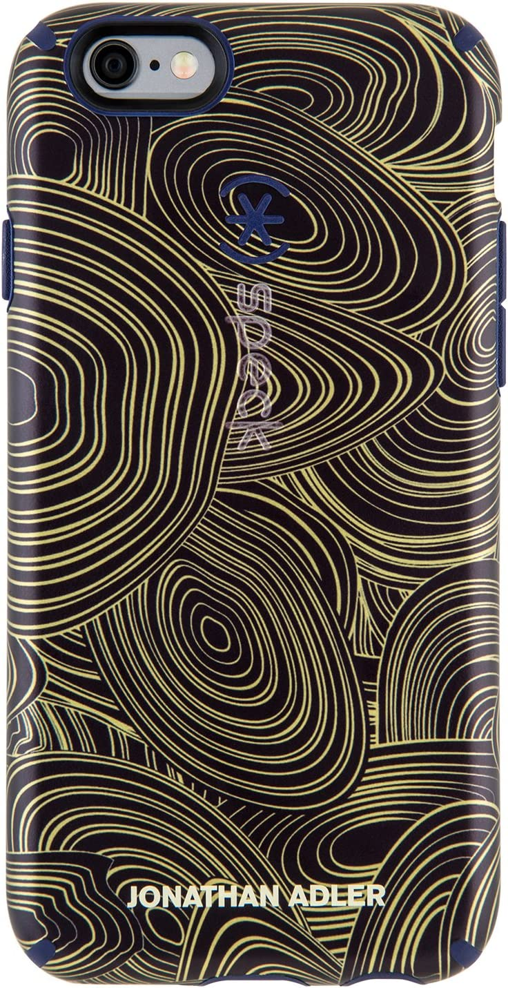 Speck Products CandyShell Inked Jonathan Adler Cell Phone Case for iPhone 6/6S - Retail Packaging - MalachiteBlackGold/BerryBlack Metallic