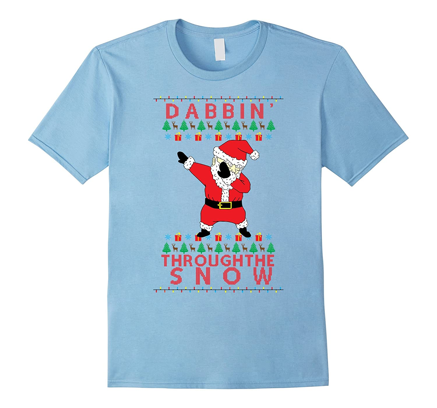 dabbing santa through the snow ugly christmas sweater shirt td