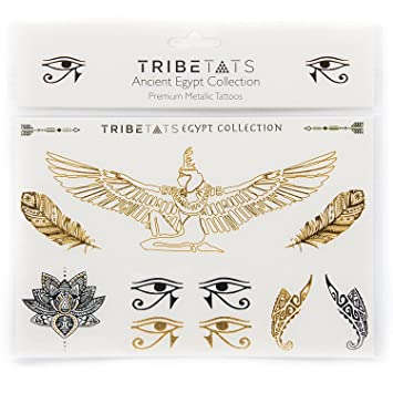 3fdb83dd4 Ancient Egypt Collection - Designer Metallic Flash Temporary Tattoos by  TribeTats - Black & Gold Egyptian