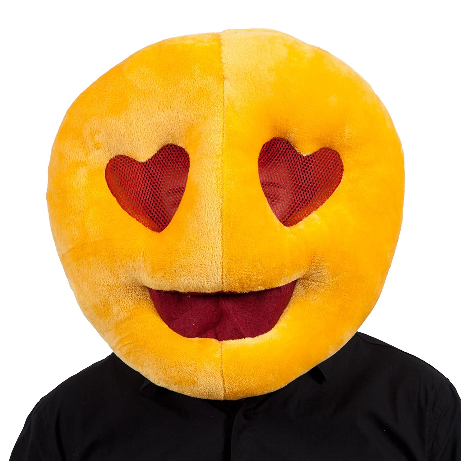 Emoji Face Comedy Adults Plush Emiticon Mask Stag Hen Party Fancy Dress