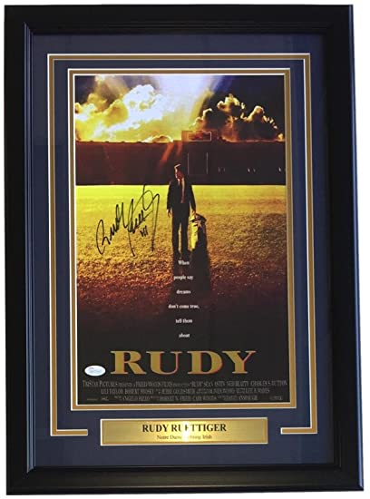rudy ruettiger notre dame signed framed 11x17 movie poster photo jsa