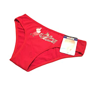6a295a733a Ladies Merry Christmas Red Santa Design Briefs Knickers Panties Underwear   Amazon.co.uk  Clothing