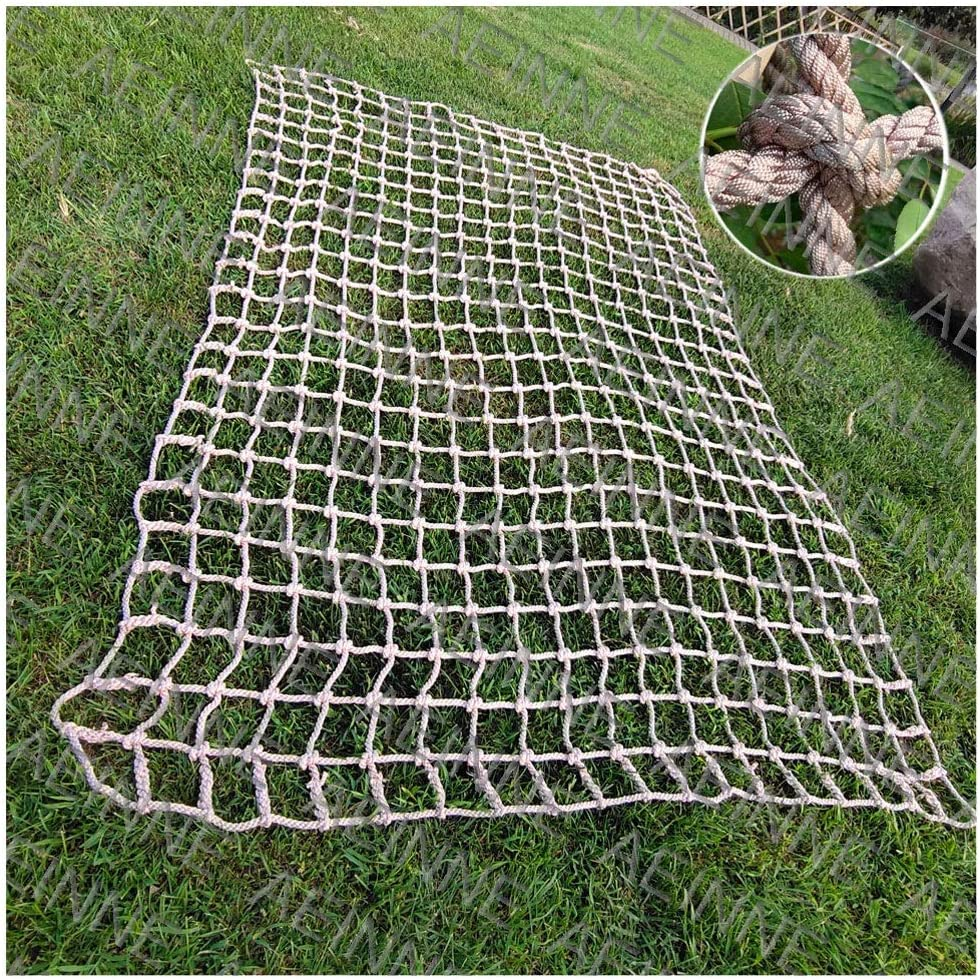 Customizable child safety netting for balcony RZM Decor Net Anti-fall Net ,Retro Hemp Rope Net Truck Cargo Trailer Nets Protection Net Outdoor Color : Beige-10cm, Size : 1x1m