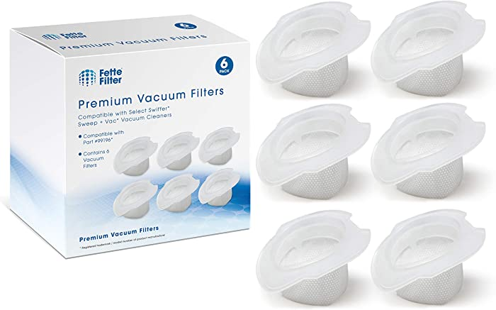 Fette Filter - Vacuum Replacement Filters Compatible with Swiffer Sweep + Vac. Replaces Part # 99196 (Pack of 6)