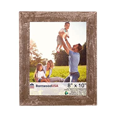 BarnwoodUSA | Farmhouse Picture Frame, 1 1/2  inch Molding - 100% Up-cycled Reclaimed Wood (8x10, Espresso)
