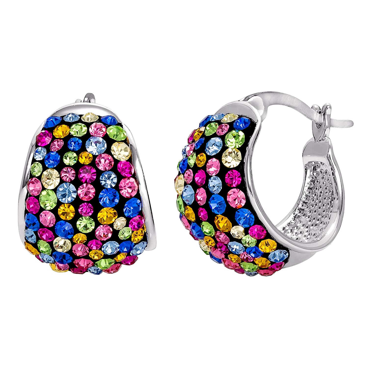 Crystalogy Jewelry for Women Multicolor Crystal Covered Silver Plated Huggie Earrings