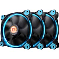 Thermaltake Riing 12 High Static Pressure Circular Ring Blue LED Case/Radiator Fan with Anti-Vibration Mounting System Triple Pack Cooling CL-F055-PL12BU-A