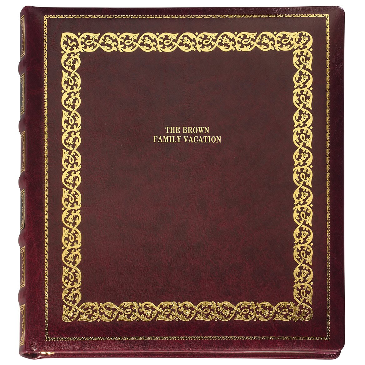 Personalized Library Leather Album - Burgundy 2 Lines