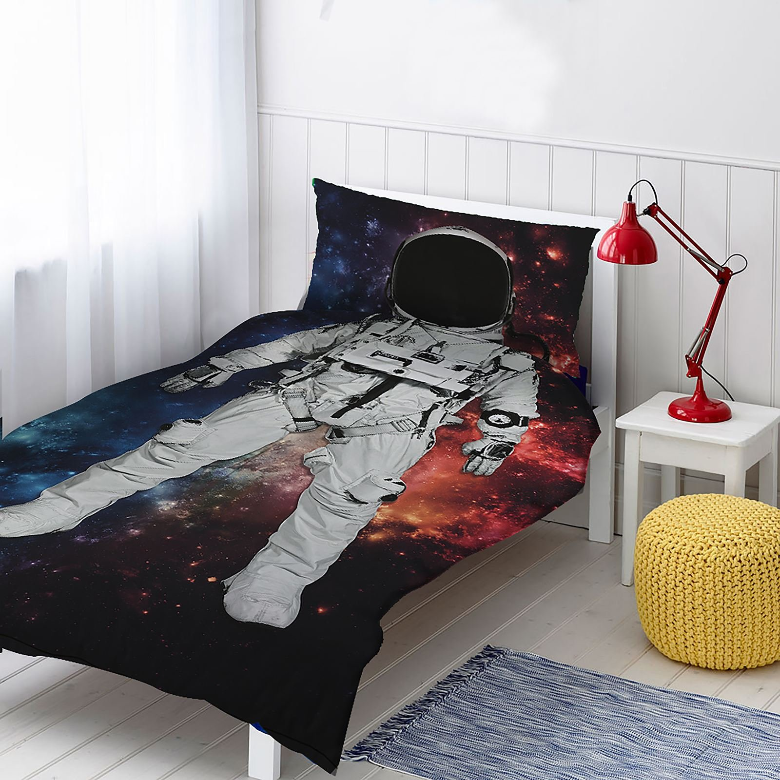 Astronaut 2 Piece UK Single/US Twin Sheet Set, 1 x Double Sided Sheet and 1 x Pillowcase