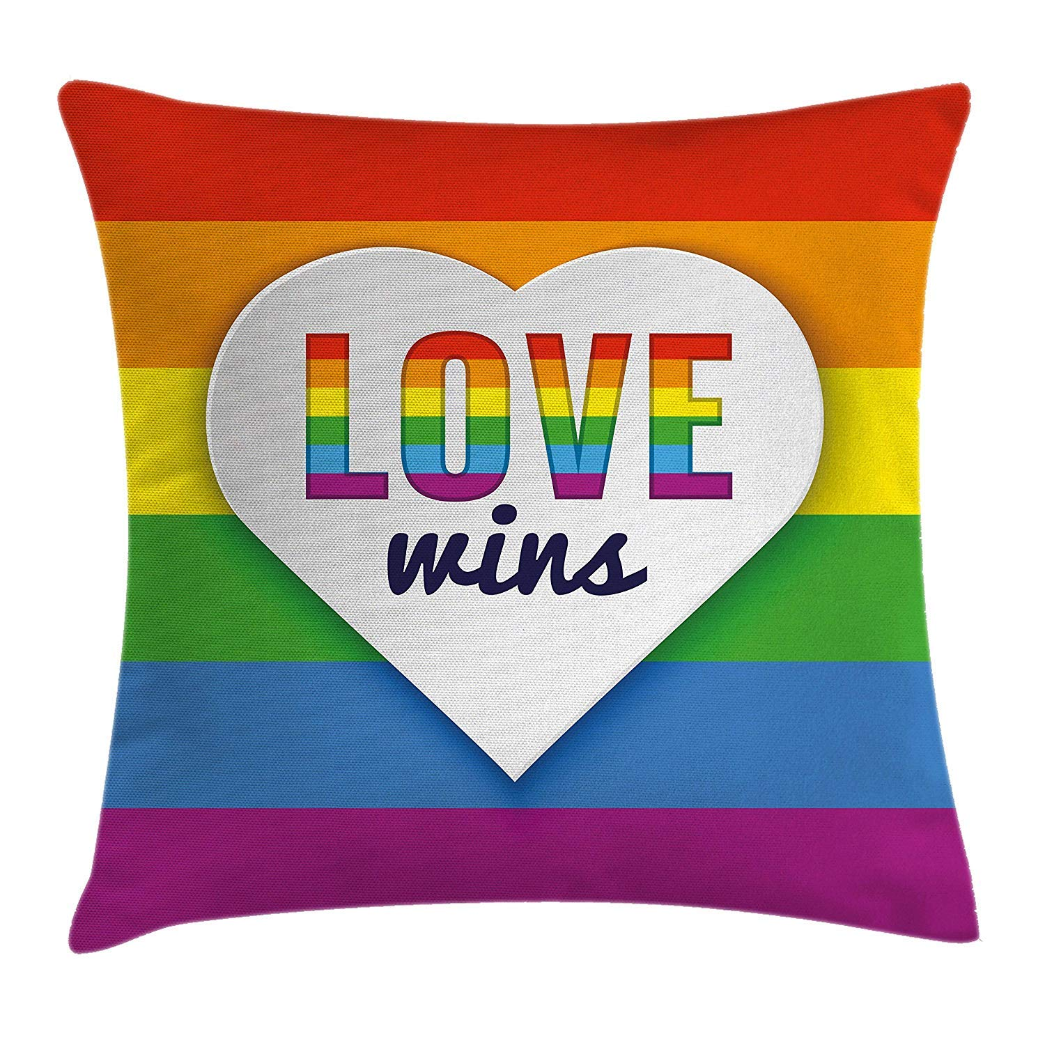 Rainbow Flag with Stripes Heart Symbol with Love Wins Text LGBT Valentines Multicolor Decorative Square Accent Pillow Case 18 X 18 inches Pride Decorations Throw Pillow Cushion Cover