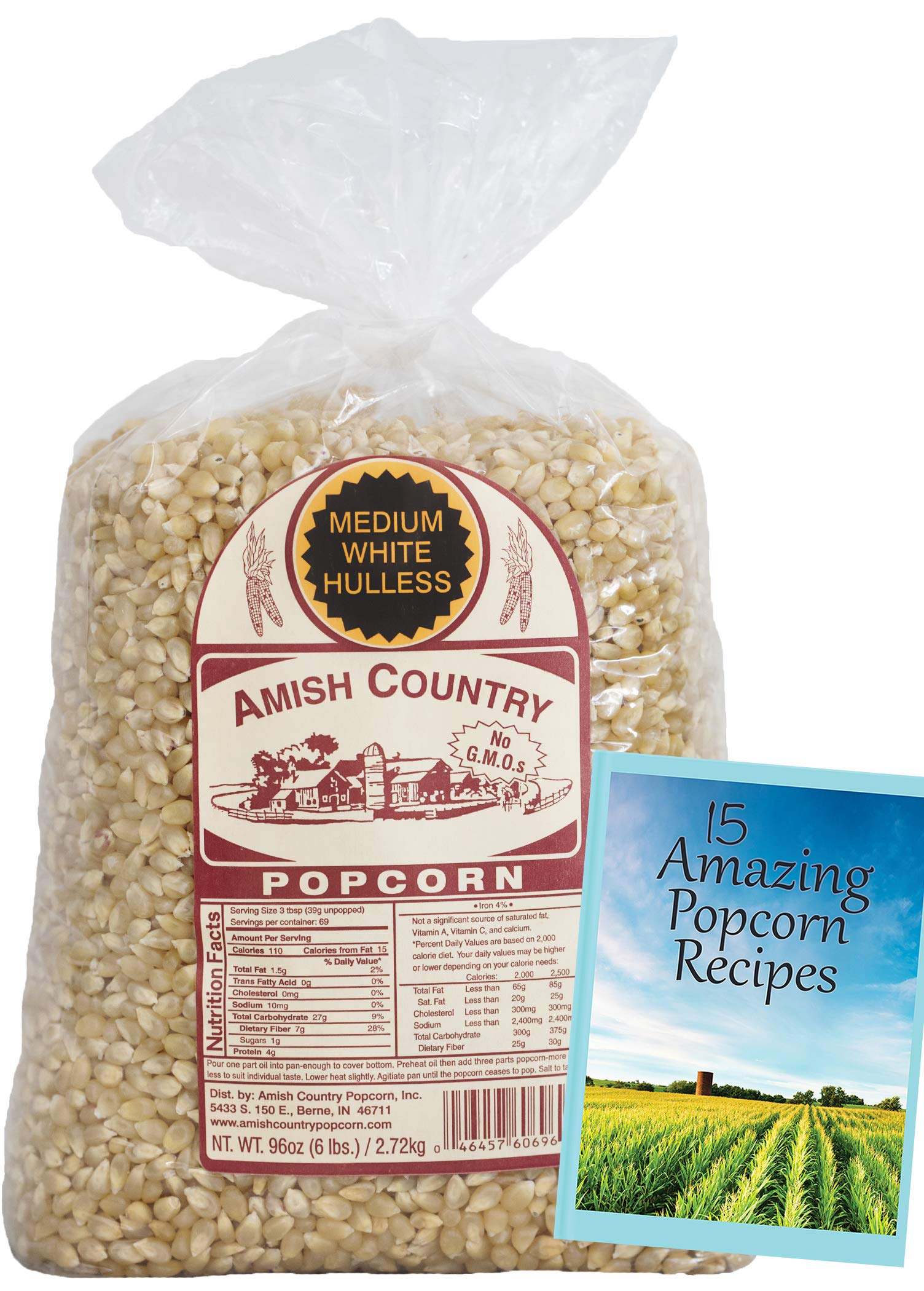 Amish Country Popcorn - Medium White (6 Pound Bag) Popcorn Kernels with Recipe Guide, Old Fashioned, Non GMO, Gluten Free, Microwaveable, Stovetop and Air Popper Friendly by Amish Country Popcorn (Image #2)