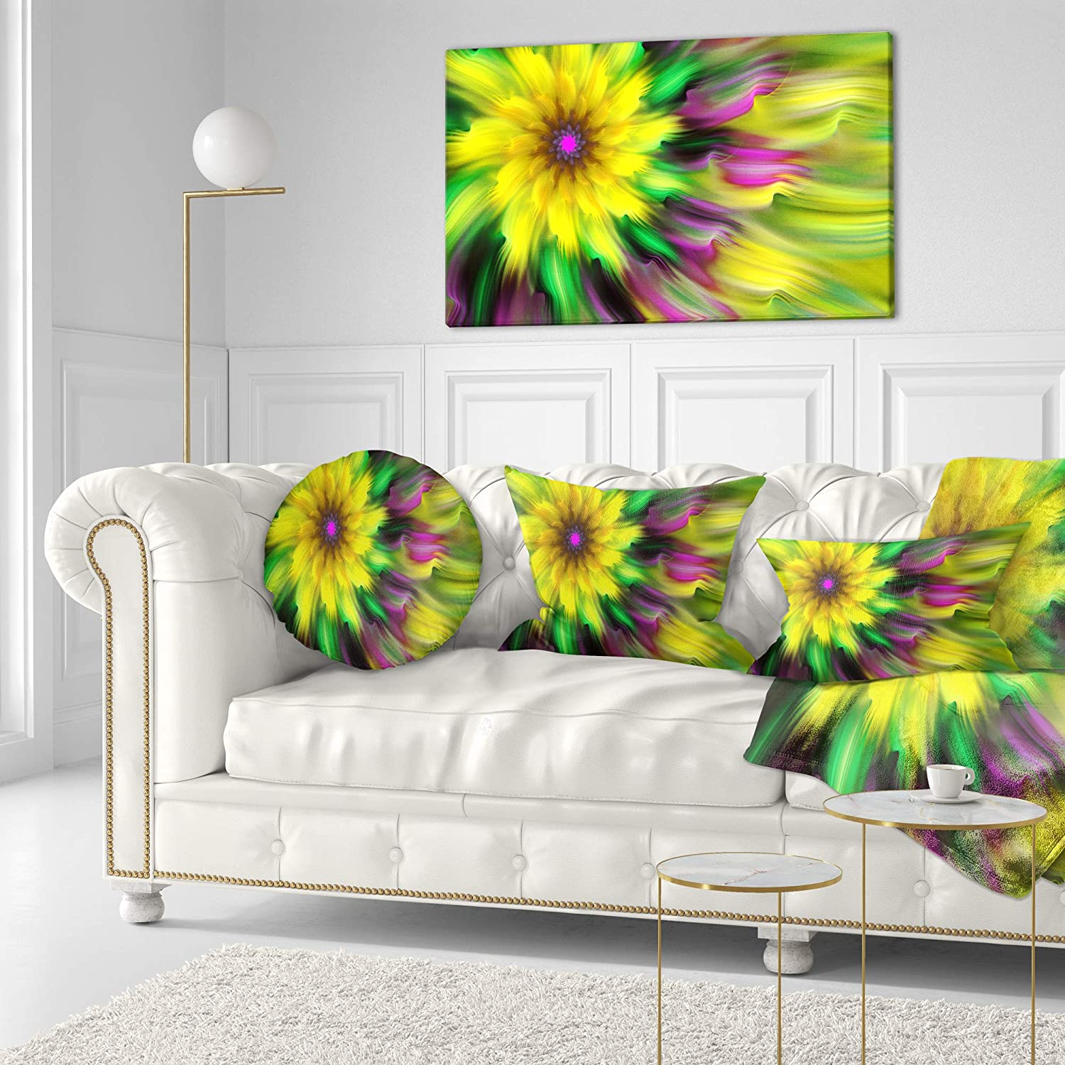 Sofa Throw Pillow 20 Insert Printed On Both Side Designart Cu15551 20 20 C Dance Of Yellow Exotic Flower Floral Round Cushion Cover For Living Room Home Kitchen Throw Pillow Covers