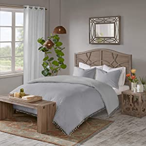 "Madison Park Lillian 100% Cotton Duvet, Bohemian Fringe Trim Border Shabby Chic All Season Comforter Cover Bed Set with Matching Shams, Full/Queen(90""x90""), Tassel Grey 3 Piece"