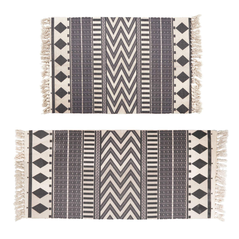 Topotdor Cotton Area Rug,Hand Woven Print Boho Tassels Floor Rugs Machine Washable Perfect Bedroom Living Room Hallway Home Decor (2' x 3'+ 2' x 4', Pattern 3)