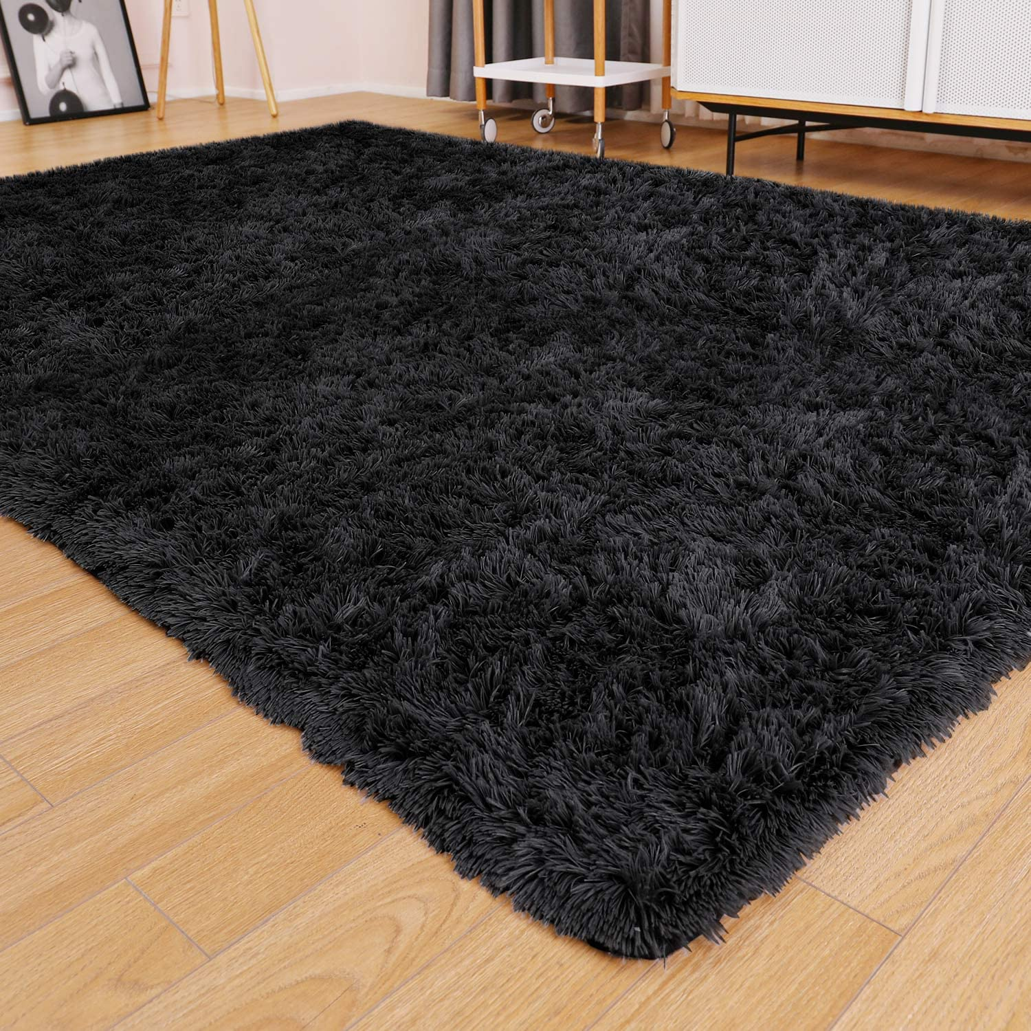Ophanie Ultra Soft Fluffy Area Rugs for Living Room, Luxury Shag Rug Faux Fur Non-Slip Floor Carpet for Bedroom, Kids Room, Baby Room, Girls Room, and Nursery - Modern Home Decor, 4x5.3 Feet Black