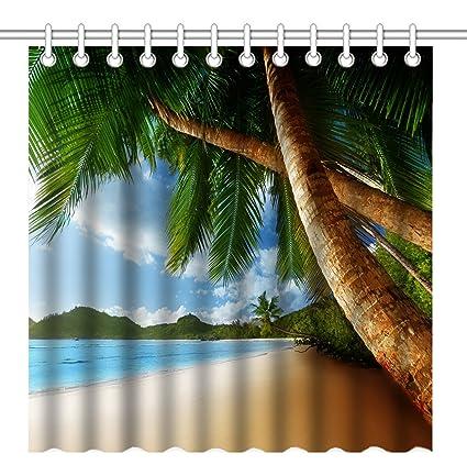 Wknoon 72 X Inch Shower CurtainTropical Palm Trees Ocean Beach SceneWaterproof