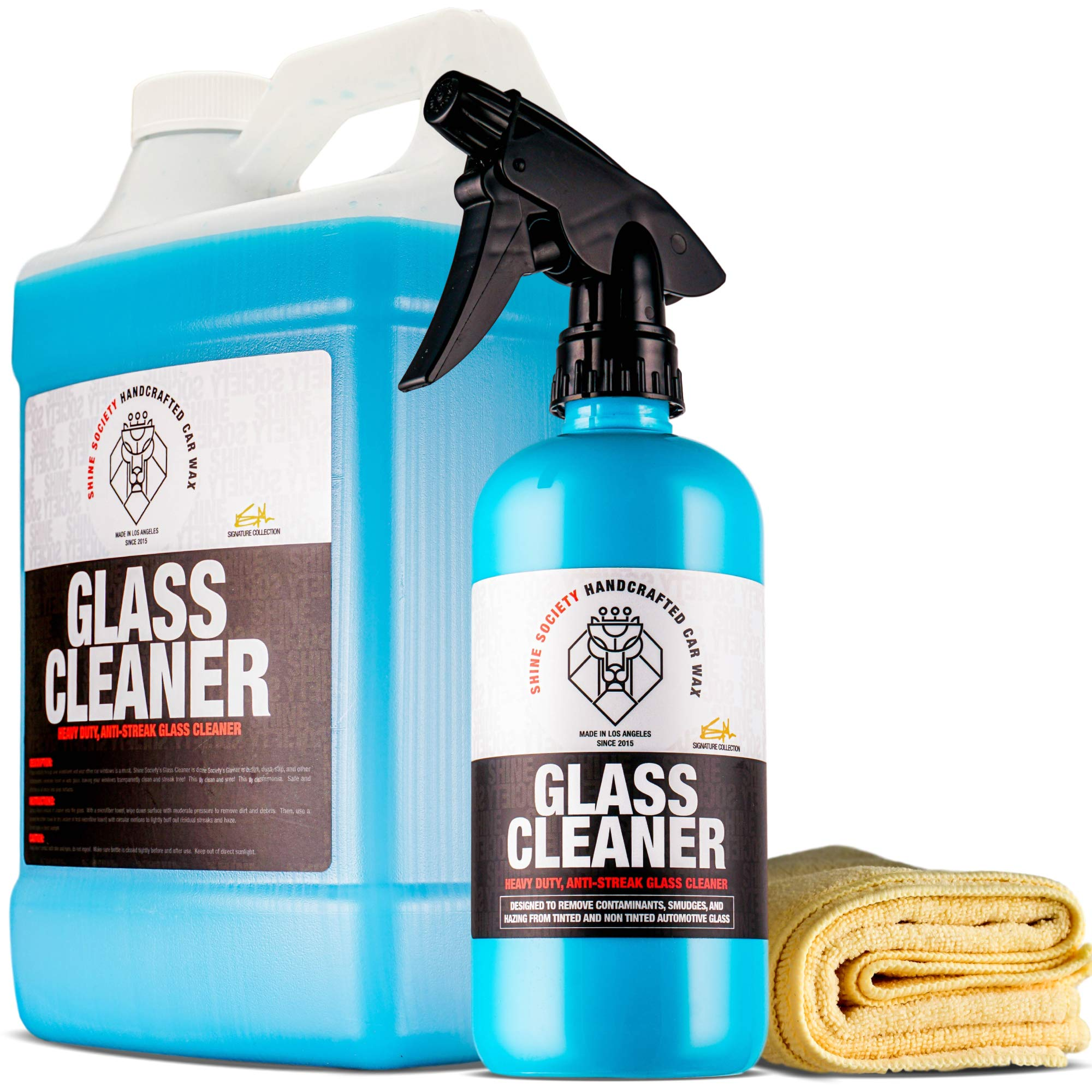 Shine Society Glass and Window Cleaner, 100% All-Natural Anti Streak Formula, Made for Tinted and Non-Tinted Car Windows (Value Pack) by Shine Society (Image #1)