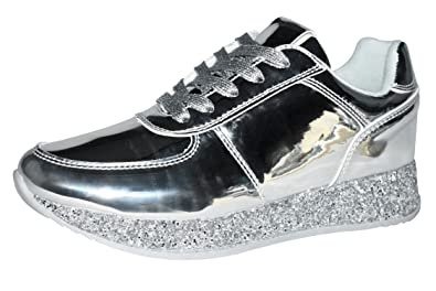 cheaper 4a6b6 4f8e0 ROXY ROSE Women Fashion Metallic Sneaker Glitter Flatform Quilted Lace Up  Casual Shoes