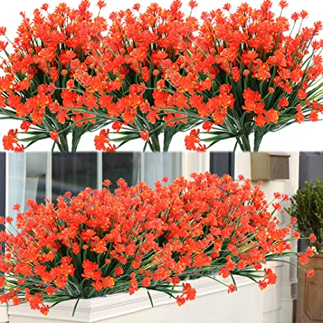Amazon Com Artbloom 8 Bundles Outdoor Artificial Fake Flowers Uv Resistant Shrubs Plants Faux Plastic Greenery For Indoor Outside Hanging Plants Garden Porch Window Box Home Wedding Farmhouse Decor Orange Red Home