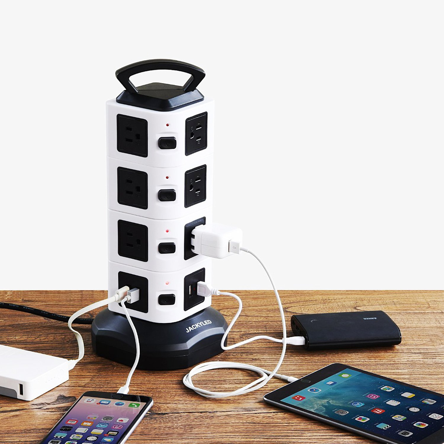 JACKYLED Power Strip - 14 Outlet Plugs with 4 USB Slot 6.5ft Cord Wire Extension 3000W Surge Protector Universal Socket Charging Station for PC Laptops Mobile Devices by JACKYLED (Image #8)
