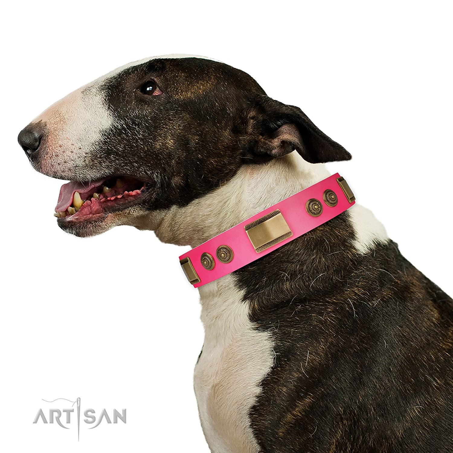 Fits for 22 inch (55cm) dog's neck size FDT Artisan 22 inch Pink Leather Dog Collar with Brass Decor  Vintage Trimness  1 1 2 inch (40 mm) wide