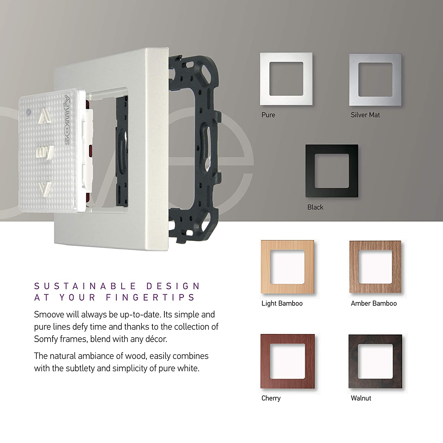 Somfy SMOOVE ORIGIN RTS 1 channel wall button / remote control 433 42 MHz  for roller shutters with frame - 1810880 / 1811045