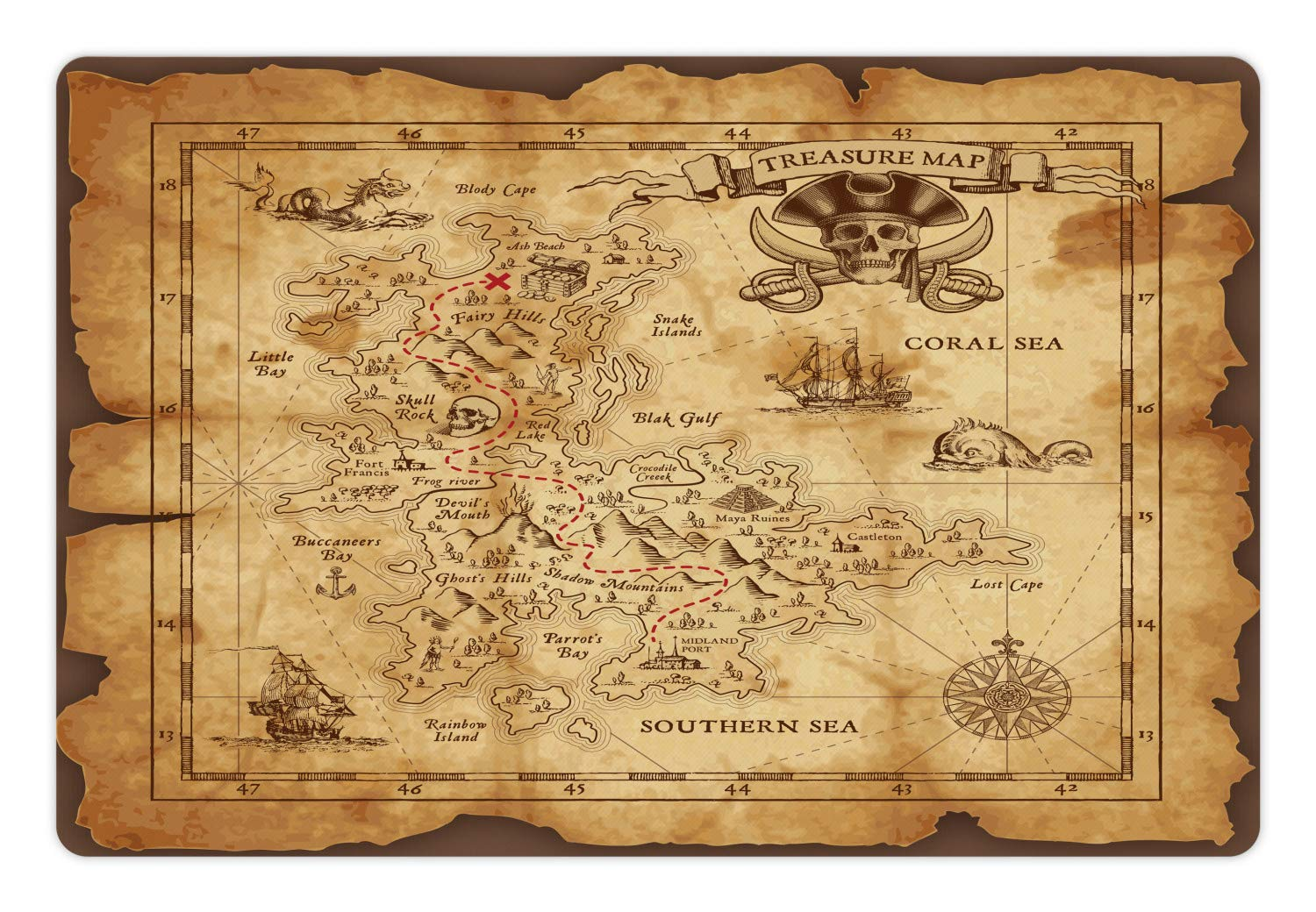 Multi 6 18\ Multi 6 18\ Ambesonne Island Map Pet Mat for Food and Water, Super Detailed Treasure Map Grungy Rustic Pirates gold Secret Sea History Theme, Rectangle Non-Slip Rubber Mat for Dogs and Cats, Beige Brown